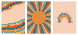 Set of three abstract pop art aesthetic backgrounds with sun lights, stars, Boho rainbow, waves, dots, thin lines. Trendy colorful vector illustration for social media, wed design, in vintage style.