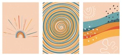 Set of three abstract pop art aesthetic backgrounds with sun lights, stars, Boho rainbow, waves, dots, spiral lines. Trendy colorful vector illustration for social media, web design in vintage style.