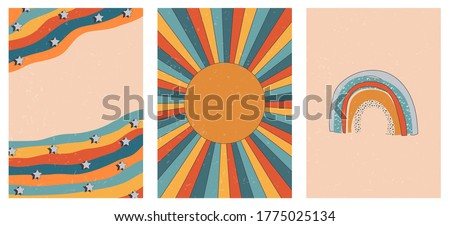 Set of three abstract pop art aesthetic backgrounds with sun lights, stars, Boho rainbow, waves, dots, thin lines. Trendy colorful vector illustration for social media, wed design, in vintage style. Stock foto ©