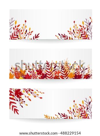set of three autumn vector