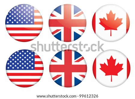 set of three badges with flags