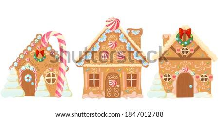 set of three bakery houses
