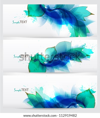 set of three banners, abstract floral blue elements with blots. Vector design