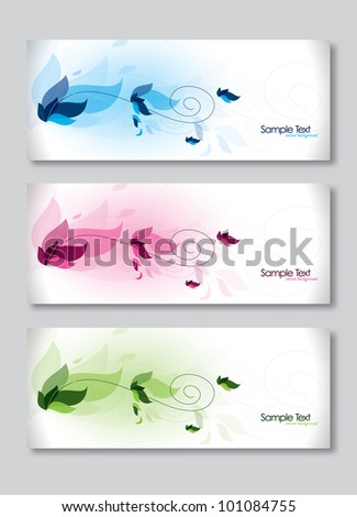 Set of Three Banners. Abstract Vector Headers.