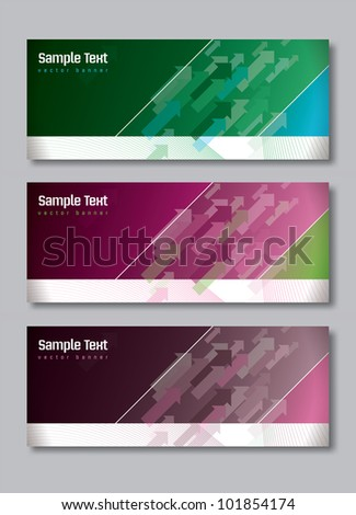 Set of Three Banners. Abstract Vector Headers. Eps10 Format.