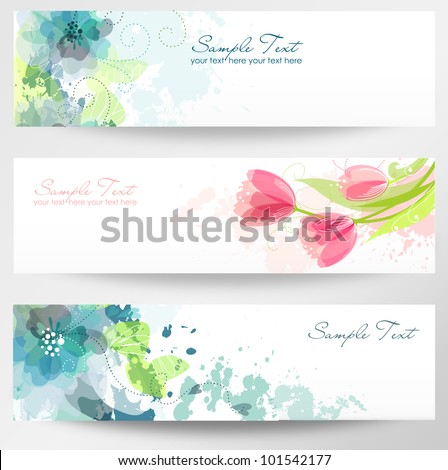 Set of three banners. Beautiful floral headers - stock vector
