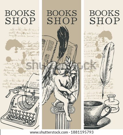 Set of three banners for books shop in retro style. Vector illustrations with hand-drawn typewriter, angel, book, cup and handwritten notes with spots. Suitable for flyer, label, bookmark, advertising Foto stock ©