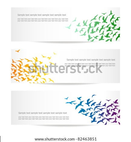 set of three banners with flocks of birds