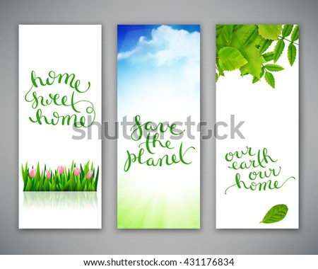 set of three banners with