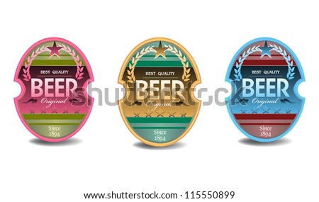 Set of three beer labels, isolated on a white background