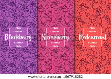set of three berries patterns