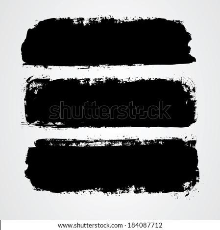 set of three black grunge