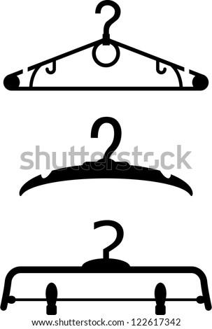 Set of three black silhouette of hangers