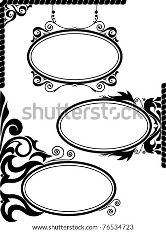 set of three black silhouettes of oval frames