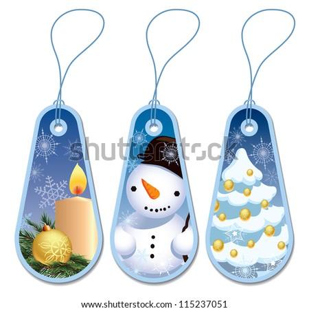 Set of three blue Christmas gift tags