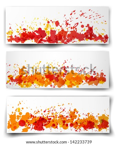 Stock Photo Set of three bright abstract paper-cut backgrounds in autumn colors. Vector illustration