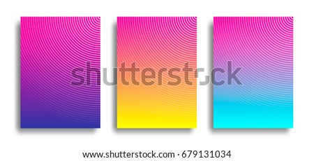 Set of Three Bright Geometric Vector Background. Contrast Creative Illustration with Radial Lines for Posters, Ads, Banners, Wallpapers and Covers.