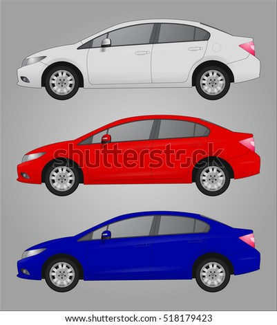 set of three car with different