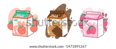 set of three cartons of milk