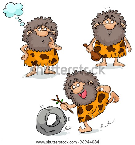 set of three cartoon cavemen