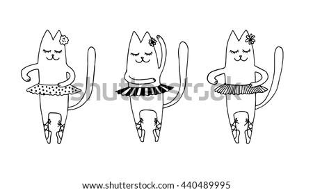 set of three cat ballet dancer