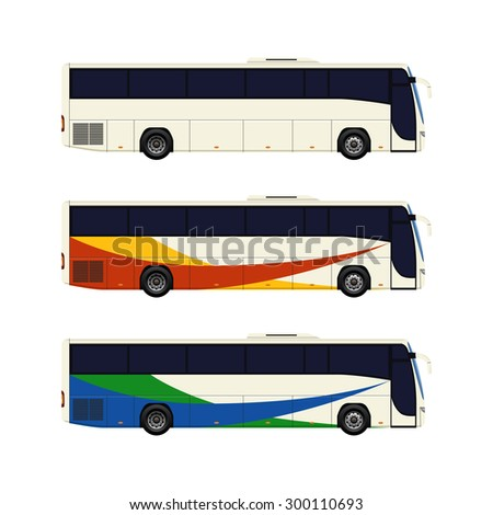 Set of three coach bus icons. Vector illustration.