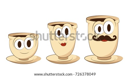set of three coffee cups