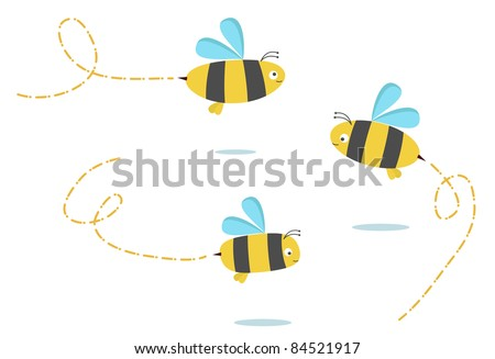 set of three color bees