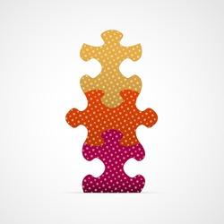 Set of three color puzzle graphic elements / puzzle