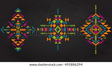 set of three colorful ethnic