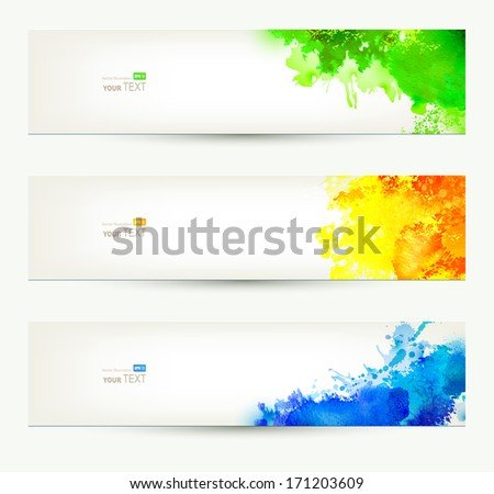 set of three colorful headers