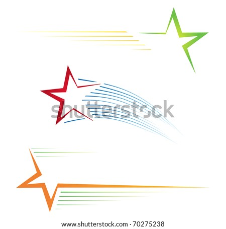 Set of three colorful pictograms with stars