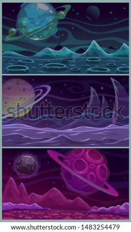 set of three colorful space