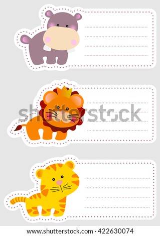 set of three cute blank card
