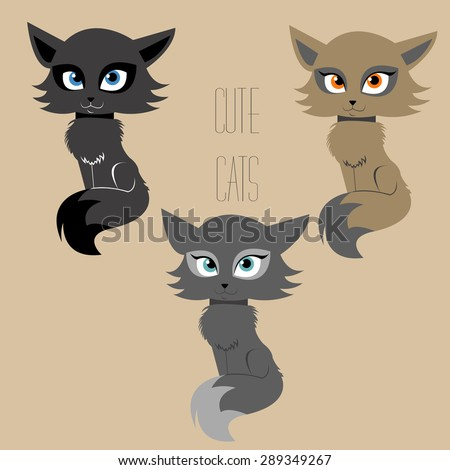 set of three cute cats in