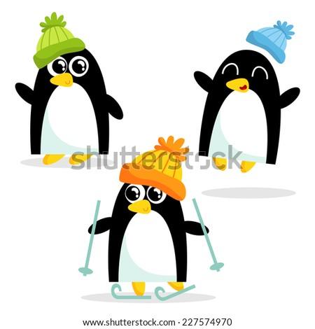 set of three cute penguins