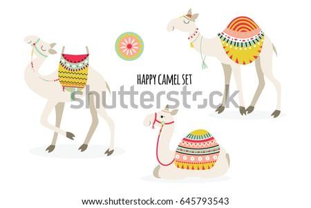 set of three cute smiling camel