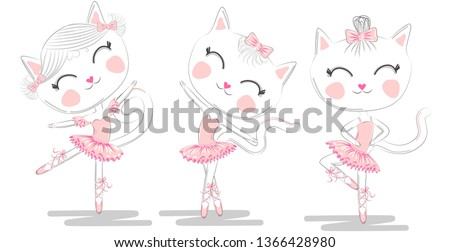 set of three cute white