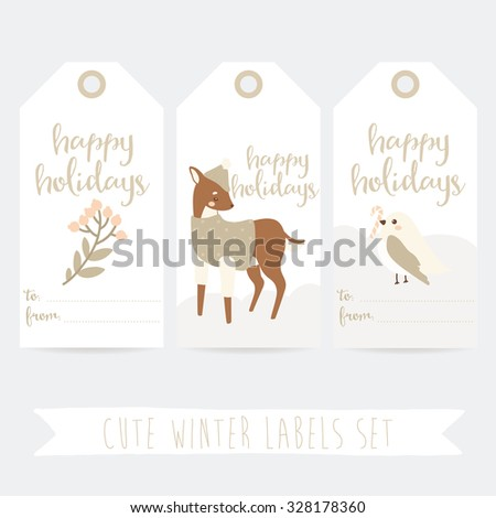 set of three cute winter labels