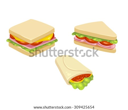set of three delicious sandwich