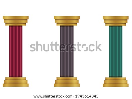 set of three different colored