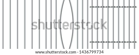 Set of three different realistic prison metal bars isolated on white background. Iron jail cage. Prison fence jail. Template design for criminal or sentence.