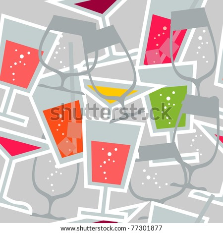 Set of three different stylized cocktails on light background