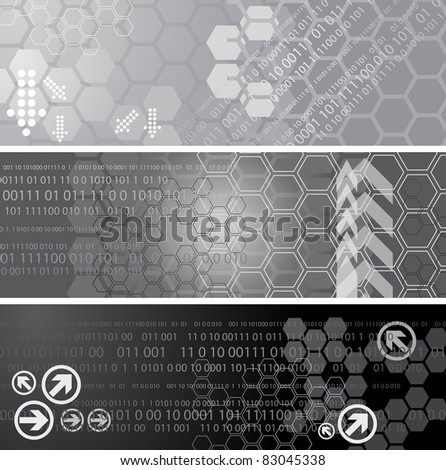 Set of three digital banners