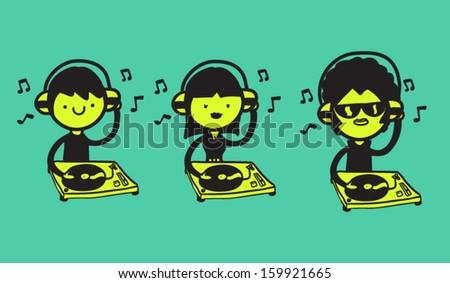 set of three djs with turntables