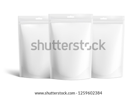 Set of three doypack packages. Vector illustration isolated on white background. Easy to use for presentation your product, idea, design. EPS 10.