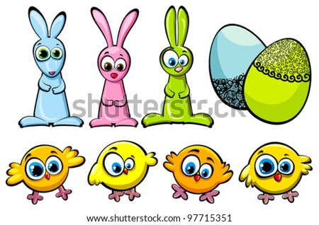 Set of three Easter bunnies, funny chicks and decorated eggs