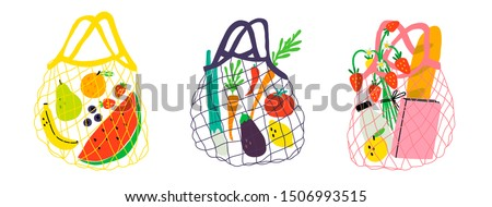 Set of three eco shopping net bags with various products. Zero waste, plastic free concept. Different stuff from local market. Colored trendy vector illustration. Cartoon style. Flat design