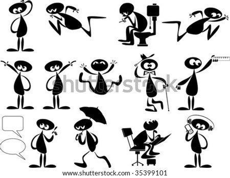 Set of three editable vector foreground silhouettes with all figures and other elements as separate movable objects;