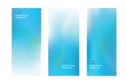 Set of Three EPS10 abstract blue green graphic design vertical background templates for Healthcare and various other communications, artworks, cards, DVDs and much more. With copy space